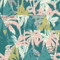 Seamless exotiskt mönster med tropiska växter och geometrisk bakgrund.