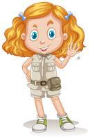 S Söt tjej Scout på vit bakgrund vektor