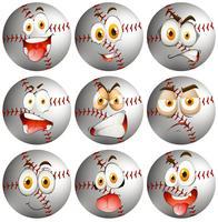 Baseball med ansiktsuttryck vektor