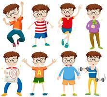 Junge mit Brille in verschiedenen Aktionen