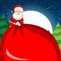 Santa hält einen großen Sack vektor