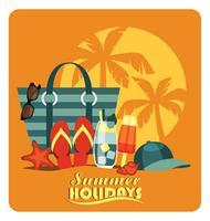 Vektor platt illustration av traditionell strand semester.