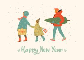 Weihnachten und guten Rutsch ins Neue Jahr-Abbildung Whit-Leute. Modischer Retro-Stil. vektor
