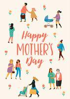 Schönen Muttertag. Vektorabbildung mit Frauen und Kindern.