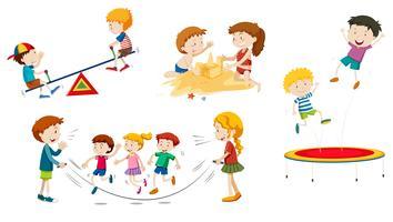 En uppsättning barn som leker vektor