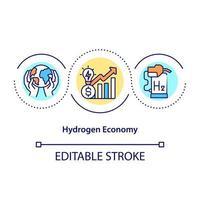 Symbol für das Konzept der Wasserstoffwirtschaft. ökologischer Umgang mit Kraftstoff. revolutionäre Energiequelle. Klimawandel abstrakte Idee dünne Linie Abbildung. Vektor isolierte Umriss-Farbzeichnung. bearbeitbarer Strich