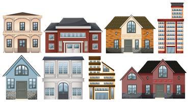 Unterschiedliche Bauweisen von Gebäuden vektor