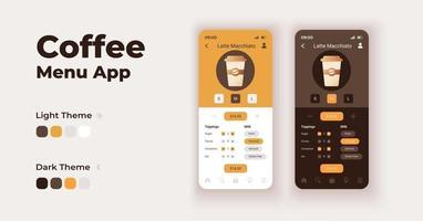 Kaffeemenü-Cartoon-Smartphone-Schnittstellenvektorvorlagen eingestellt. Design der mobilen App-Bildschirmseite im Nacht- und Tagmodus. koffeinhaltige Getränke bestellen ui zur Anwendung. Telefondisplay mit flacher Schrift vektor