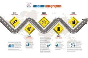 Business Road Signs Karte Timeline Infografik für abstrakte Hintergrundvorlage Meilenstein Element moderne Diagramm Prozesstechnologie digitale Marketingdaten Präsentation Diagramm Vektor-Illustration entworfen vektor