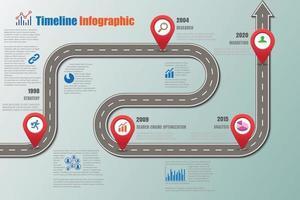 Business-Roadmap-Timeline-Infografik-Vorlage mit Zeigern für abstrakten Hintergrund moderne Diagrammprozesstechnologie digitale Marketingdatenpräsentationsdiagramm-Vektorillustration vektor