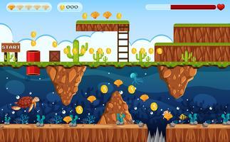 Abenteuer Spiel Land und Unterwasserszene vektor