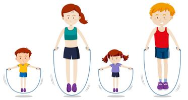 Ett familjen rep hoppar