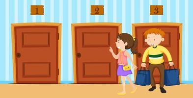 Par väljer dörr i rummet
