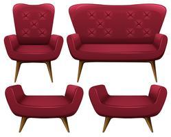 Fåtöljer och soffa i rött