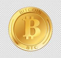 Bitcoin-Münze auf transparentem Hintergrund vektor