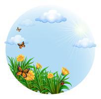 Eine runde Vorlage mit blühenden Blumen und Schmetterlingen vektor
