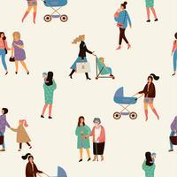 Schönen Muttertag. Vektornahtloses Muster mit Frauen und Kindern. vektor