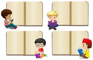 Leere Buchschablone mit dem Jungenlesen vektor