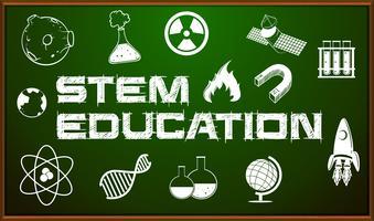 STEM utbildning poster med ikoner ombord vektor