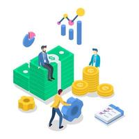 Buchhaltung isometrische Farbvektorillustration. Finanzprüfung. Finanzmanagement. Geschäftsstrategie. Investition. Bankwesen. Buchhaltung. Leute, die Geld zählen. 3D-Konzept isoliert auf weiß vektor