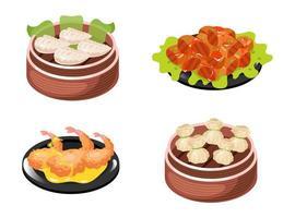 chinesische Gerichte Farbsymbole gesetzt. Knödelsorten mit Fleisch- und Gemüsefüllung. Meeresfrüchte, Garnelen und Garnelen. orientalische traditionelle Küche. Fleischkoteletts mit Soße. isolierte vektorillustrationen vektor