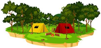 Eine isolierte Campingplatzszene vektor