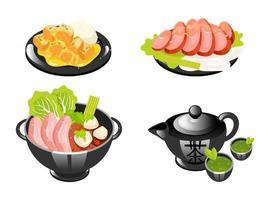 chinesische Gerichte Farbsymbole gesetzt. Nudelsuppe mit Fleisch und Gemüse. Kultur der Teezeremonie. orientalische traditionelle Küche. Fleischkoteletts mit Sauce und Reis. isolierte vektorillustrationen vektor