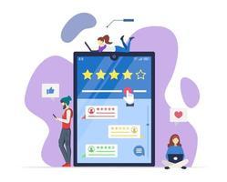 Online-Bewertungen halbflache RGB-Farbvektorillustration. Benutzererfahrung. Kundenzufriedenheit. Verbraucher-Feedback. positive, negative Kommentare. Qualitätsbewertung. isolierte Zeichentrickfigur auf weiß vektor