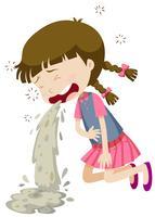Kleines Mädchen, das von der Lebensmittelvergiftung erbricht vektor