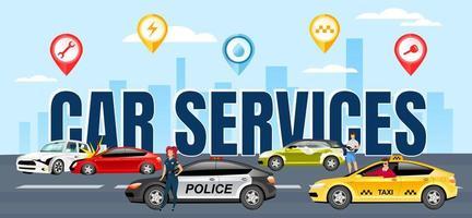 Autodienstleistungen Wortkonzepte flache Farbvektorfahne. Typografie mit kleinen Zeichentrickfiguren. Verkehrsunfallversicherung. Polizist mit Streifenwagen. Autowaschanlage und Taxi kreative Illustration vektor
