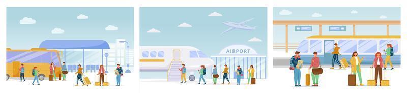Reisen flache Vektorillustrationen eingestellt. Bushaltestelle, Flughafen, Bahnhof. Urlaubsreise. Fahrt mit Transfer. Reise. Menschen bewegen sich auf verschiedenen Transportmitteln Zeichentrickfiguren vektor