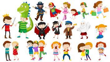 Många barn i olika kostymer vektor