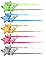 Dekorationsdesign mit Sternen in vielen Farben