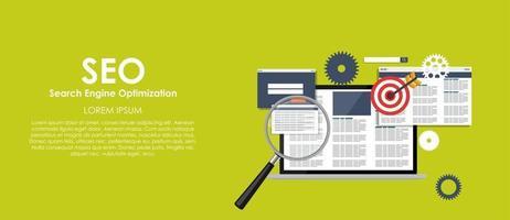 SEO-Suchmaschinenoptimierung-Vektor-Illustration. flacher Computerhintergrund vektor