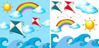 Bakgrundsscen med drakar i himlen vektor