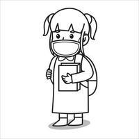 Mädchen nach der Schule, das eine Buchkarikaturillustration hält. Mit Maske und gesundem Protokoll. Charakterillustration. vektor