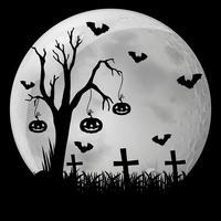 Silhuett bakgrund med fladdermöss i kyrkogård vektor