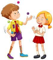 En pojke jonglering på vit bakgrund vektor