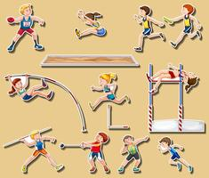 Klistermärke design för spår och idrottsgrenar vektor