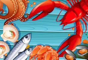 Set Meeresfrüchte auf hölzernem Hintergrund vektor