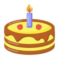 Kerze süßer Kuchen vektor