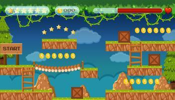 Eine Dschungel-Jumping-Spielvorlage vektor