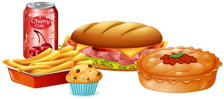 Eine Reihe von Fast Food vektor