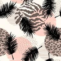 Abstraktes nahtloses Muster mit Tierdruck, tropischen Anlagen und geometrischen Formen.