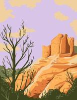 halsabschneiderische Burgruine in Hovenweep National Monument in Cortez, Colorado und Blanding Utah auf Cajon Mesa der Great Salbei Ebene USA WPA Poster Art vektor