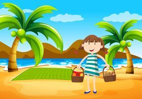 Mädchen mit Picknick am Strand vektor