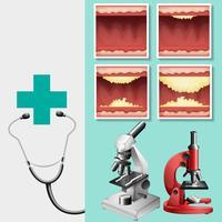 Medizinisches Thema mit Stethoskop und Mikroskop vektor