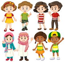 Grupp av internationella barn karaktär