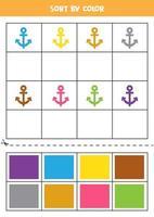 Bilder nach Farbe sortieren. Cartoon-Anker. Spiel für Kinder. schneiden und Kleben. vektor