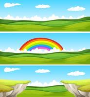 Tre natur scen med fält och klippa